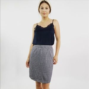 St. John Collection Navy Houndstooth Knit Skirt